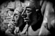 Stone Carvings Prints - Faces in Crowd Print by David  Hubbs