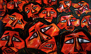Large Crowds Of People Mixed Media Posters - Faces in the crowd Poster by Karen Elzinga