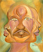 Hearts Painting Posters - Faces of Copulation Poster by Ikahl Beckford