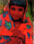 Multicultural Paintings - faces of hope India by FeatherStone Studio Julie A Miller