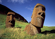 Moai Prints - Faces of Mystery Easter Island Heads Print by Cliff Wassmann