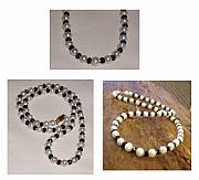 Freshwater Pearls Jewelry Originals - Faceted Onyx and Freshwater Pearl Necklace by Suzanne McCaslin