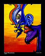 Psychedilic Framed Prints - Facial Deconstruction Framed Print by Jonathan Vinazza
