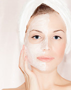 Bathe Photos - Facial mask on beautiful face by Anna Omelchenko