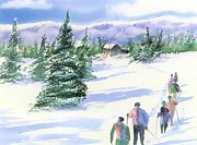 Cross-country Skiing Paintings - Facing North by Joseph Gallant