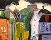 Primitive Raw Art Paintings - Factories Crowded at this End of Town by Mary Carol Williams