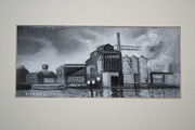 Industrial Drawings Originals - Factory - Twilight by Todd Snyder