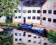 Abigail Paintings - Factory On The River by Isabella F Abbie Shores