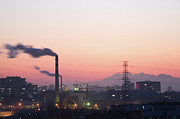 Beijing Prints - Factory Smoke In Sunset, Beijing, China Print by Fisherss Artwork
