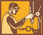Factory Metal Prints - Factory Worker Operator With Drill Press Retro Metal Print by Aloysius Patrimonio