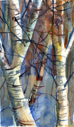 Winter Trees Drawings Posters - Fade to Autumn Poster by Mindy Newman