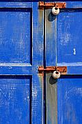 Hove Framed Prints - Faded Blue Door Locks Framed Print by Darren Kearney