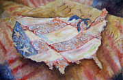 Red White And Blue Mixed Media Posters - Faded Glory Poster by Deborah Smith