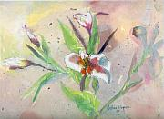 Flower Gardens Mixed Media Posters - Faded Lilies Poster by Arline Wagner