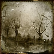 Graveyard Digital Art Prints - Faded Night Light Print by Gothicolors With Crows