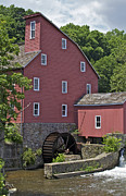 New Jersey History Posters - Faded Red Water Mill  Poster by David Letts