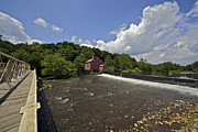 Metal Bridge Posters - Faded Red Water Mill on the Dam of the Raritan River Poster by David Letts