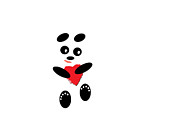 Friendly Cartoon Posters - Fading Like A Flower. Panda In Love. #01 Poster by Ausra Paulauskaite