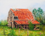 Old Barn Paintings - Fading Memories by Karl Wagner