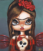 Dia De Los Muertos Framed Prints - Fae Frida Framed Print by Sour Taffy