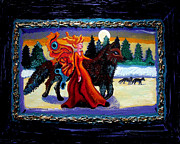 Acrylic On Canvas Painting Framed Prints - Faerie and Wolf Framed Print by Genevieve Esson