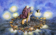 Mushrooms Paintings - Faerie Dog Meets in the Faerie Circle by Antony Galbraith