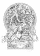 Faerie Drawings - Faerie III - Woodland Opus - A Legendary Hidden Creation series by Steven Paul Carlson