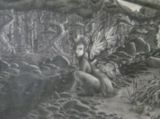Faerie Drawings - Faerie in forest by Eric Barich