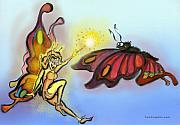 Fairy Art - Faerie n Butterfly by Kevin Middleton