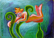 Angel Art Paintings - Faerie With Blades Of Grass by Genevieve Esson