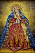 Tiled Posters - Faience mural depicting the Virgin Mary on a wall Poster by Sami Sarkis