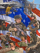 Helicopters Paintings - Fair Faces of Courage by Bob Wilson