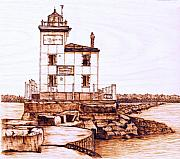 Lighthouse Pyrography Posters - Fair Port Harbor Poster by Danette Smith