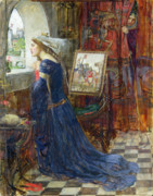 Spinning Wheel Prints - Fair Rosamund Print by John William Waterhouse