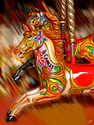 Digital Art - Fairground Horses by Steve Parkin