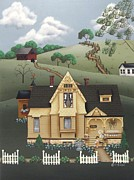 Primitive Painting Posters - Fairhill Farm Poster by Catherine Holman