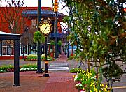 Fairhope Framed Prints - Fairhope Ave with Clock down Section Street Framed Print by Michael Thomas