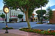 Fairhope Prints - Fairhope Ave with Clock Print by Michael Thomas