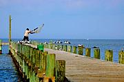 Fairhope Prints - Fairhope Fisherman with Cast net Print by Michael Thomas