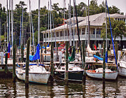 Crimson Tide Prints - Fairhope Yacht Club Sailboat Masts Print by Michael Thomas