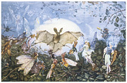 Bat Painting Posters - Fairies Attacking a Bat Poster by John Anster Fitzgerald