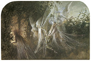 Fairies Posters - Fairies Looking through a Gothic Arch Poster by John Anster Fitzgerald