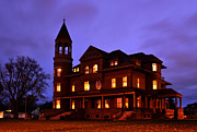 Fairlawn Prints - Fairlawn Mansion at Night Print by Whispering Feather Gallery