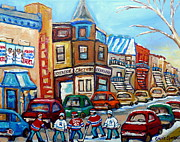 Hockey In Montreal Paintings - Fairmount Bagel And Hockey by Carole Spandau
