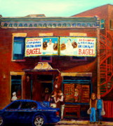 Toronto Artists Framed Prints - Fairmount Bagel By Montreal Streetscene Painter Carole  Spandau Framed Print by Carole Spandau