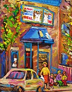 City Of Montreal Painting Originals - Fairmount Bagel Fairmount Street Montreal by Carole Spandau