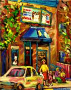 Montreal Storefronts Paintings - Fairmount Bagel In Montreal by Carole Spandau