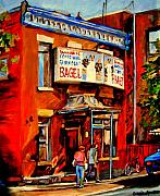 Montreal Street Life Painting Prints - Fairmount Bagel Montreal Print by Carole Spandau