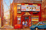Hockey Scenes Paintings - Fairmount Bagel Montreal Street Scene Painting by Carole Spandau