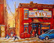 Kids Playing Hockey Paintings - Fairmount Bagel Montreal Winter Street Scenes by Carole Spandau